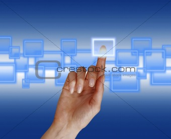 woman hand pushing a button on a touch screen interface