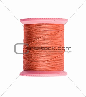 Bright red thread isolated on white