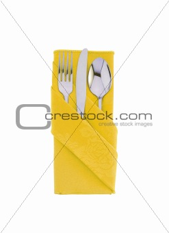 fork ,knife and spoon on yellow cloth isolated on white backgrou