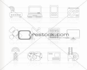 Business, technology  communications icons