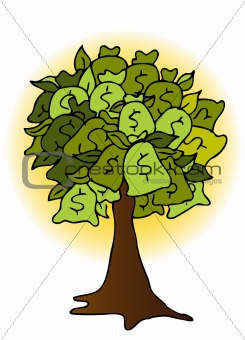Money Bag Tree Drawing