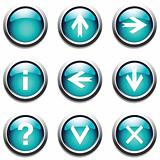 Turquoise buttons with signs.