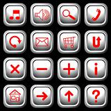 White square buttons with red symbols.