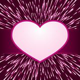 Pink purple light burst, fireworks with heart frame