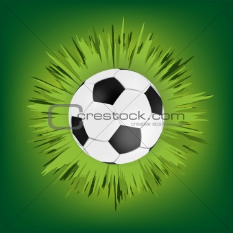Green call out area with soccer ball. EPS 8