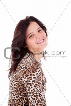 Beautiful young woman smiling, isolated on white, studio shot