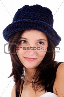 Beautiful young woman smiling,with blue hat isolated on white, studio shot