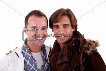 two casual happy men, isolated on white, studio shot