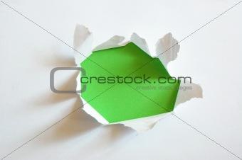 green hole in blank sheet paper
