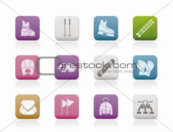 ski and snowboard equipment icons