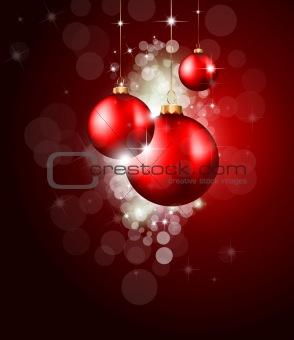 Christmas Baubles Background for Elegant Invitation Flyer