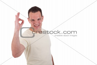 handsome man with arm raised in ok sign, isolated on white background. Studio shot