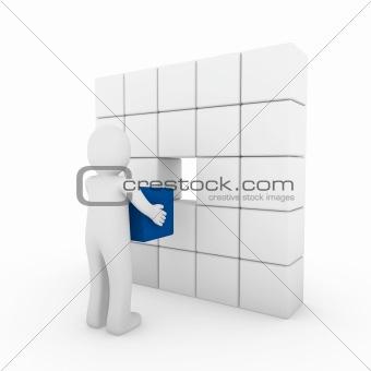 3d human cube blue white