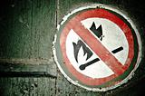 """""""No fire"""" sign on the wall"""