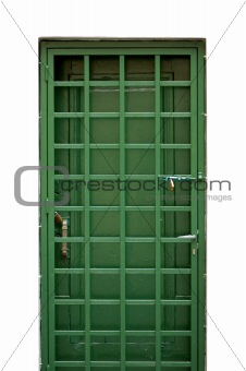 green metal door