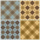 Argyle-Plaid Pattern in Blue, Taupe and Gold