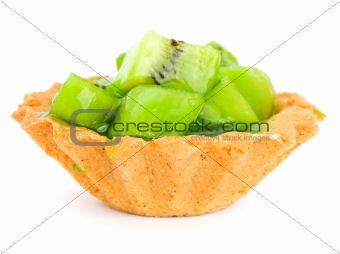 Cake with Fruit kiwi isolated on white