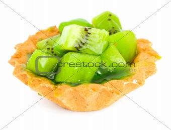 Cake with Fruit kiwi isolated on white