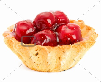 Cake with Fruit cherry isolated on white