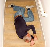 Elderly man fallen headfirst downstairs