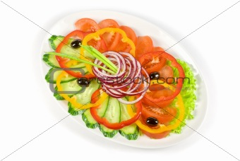 sliced vegetables at the dish