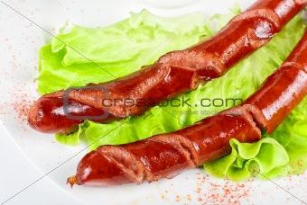 grilled sausage closeup