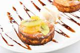 Tasty dessert with ice cream