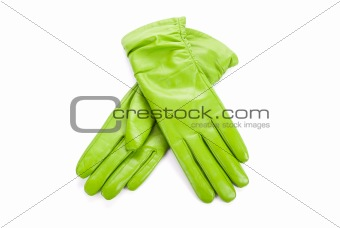 Green female leather gloves