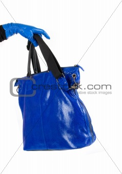 Blue and white bag