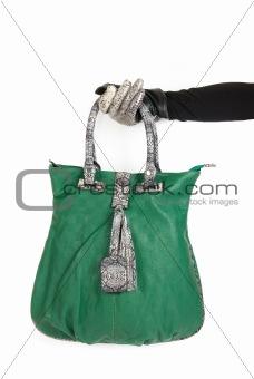 green women bag at hand