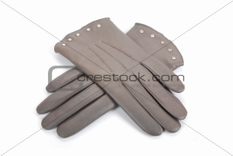 Grey female leather gloves
