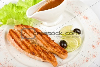 Grilled trout steak
