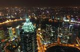 Aerial view over the megacity Shanghai at night