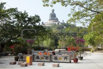 Tian Tan monastery with the giant Buddha. Hong Kong, China