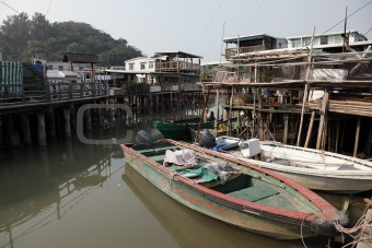 Fishing village Tai O at Lantau island in Hong Kong