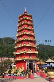 Pagoda at Temple of the 10000 Buddhas in Hong Kong