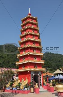 Pagoda at Temple of the 10000 Buddhas in Hong Kong