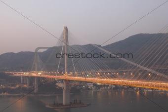 Ting Kau Bridge at dusk, Hong Kong