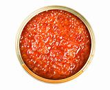 Red caviar in tin