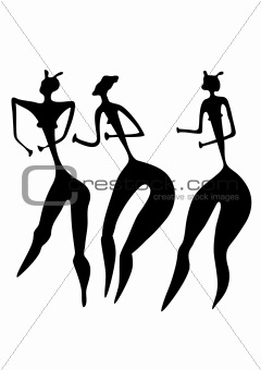 three women - primitive art - vector