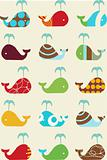 whales retro seamless pattern