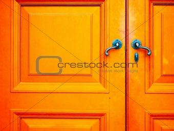 old handle on wood door