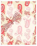 vector transparent hearts with dragonfly on seamless paisley pat
