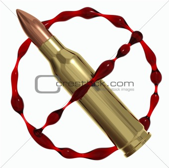 Anti war symbol created of bullet and blood