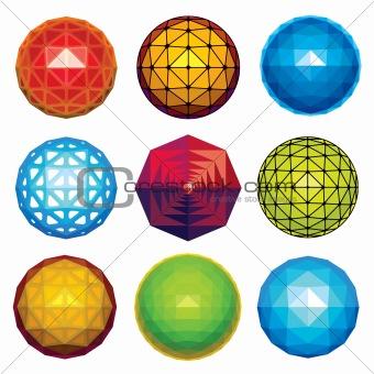 3d faceted spheres set