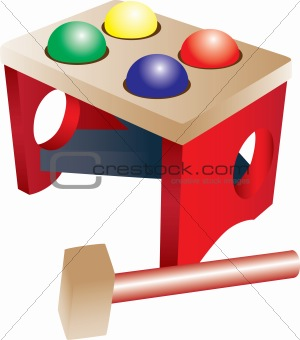 A wooden kid toy with colorful balls and a hammer.