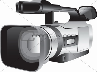 3D illustration of a semi-professional video camera