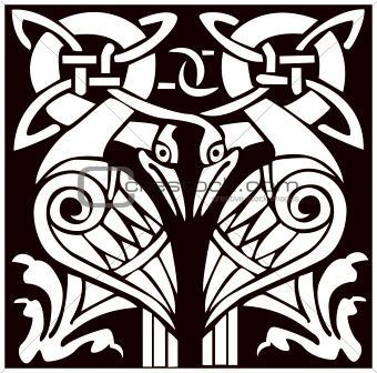 A vector illustration of a dual Celtic bird