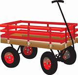 Bright red kid's hand truck