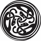 Celtic Irish zoomorphic interwoven design in black and white